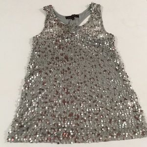 Pink and silver transparent sequin tank top